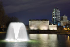 Fountain and Temple of Debod Royalty Free Stock Images