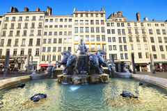 Fountain at Terreaux place, Lyon, France Royalty Free Stock Photo