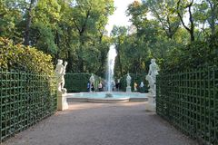 The fountain on the third platform of the Summer Garden. St. Petersburg. stock image