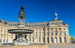 Fountain of the Three Graces at on the Place de la Bourse in Bordeaux, France Stock Photography