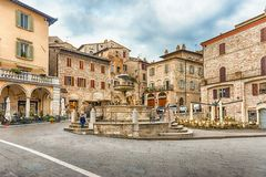 Fountain of three lions, landmark in Assisi, Italy Royalty Free Stock Photo