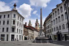 Fountain of Three Rivers in the Town Square in Ljubljana, Slovenia stock photos