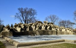 The Fountain of Time. This is a Winter picture of the iconic Fountain of Time located in the Washington Park neighborhood of Chicago, Illinois in Cook County Royalty Free Stock Photos