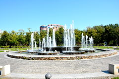 Fountain in Titan park, Bucharest. Landscape in Titan Park, Bucharest in the east part of Bucharest, in the middle of the lake Titan royalty free stock photo