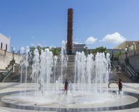 Fountain and Totem te Lurico statue. Royalty Free Stock Images