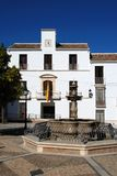 Fountain and town hall, Estepa, Spain. Stock Photography