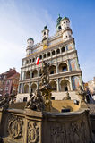 Fountain and town hall in Poznan, Poland Royalty Free Stock Photography