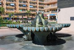 Fountain in town square, Fuengirola. Royalty Free Stock Photography
