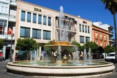 Fountain in town square, Jerez de la Frontera. Fountain on the roundabout (Rotonda de los Casinos), Jerez de la Frontera, Cadiz Province, Andalusia, Spain Royalty Free Stock Photos
