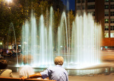 Fountain at town square in  night. Sant Adria de Besos Royalty Free Stock Image