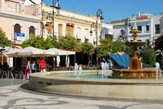 Fountain in town square, Sanlucar de Barrameda. Royalty Free Stock Photo
