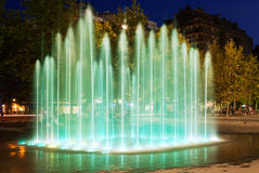 Fountain at town square in Sant Adria de Besos. Fountain at town square in night. Sant Adria de Besos royalty free stock photo