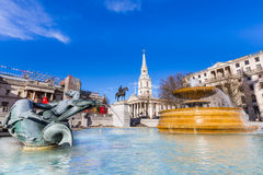 Fountain at Trafalgar Square, London Stock Images