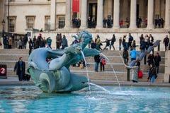 Fountain in Trafalgar square Stock Photos
