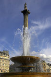 Fountain in Trafalgar square with nelsons column in background Stock Images