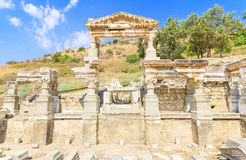 Fountain of Trajan in ancient city of Ephesus Royalty Free Stock Photo