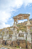 The fountain of Trajan dedicated by Aristion. The site and ruins of Ephesus Stock Images