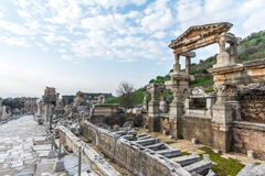 Fountain of Trajan, Ephesus. Ephesus; Ancient Greek city of Asia Minor, near the mouth of the Menderes River, in what is today West Turkey, South of Smyrna (now Royalty Free Stock Photo