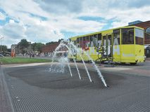 Fountain and Trambus. Stock Photo