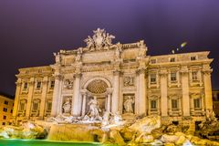 Fountain Trevi during evening hours Royalty Free Stock Photos
