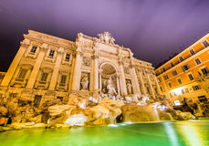 Fountain Trevi during evening hours Royalty Free Stock Images