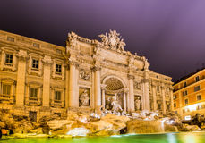 Fountain Trevi during evening hours in Rome Royalty Free Stock Photos