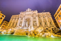 Fountain Trevi during evening hours in Rome Royalty Free Stock Image