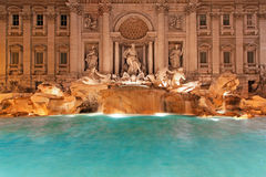 Fountain Trevi night Stock Image