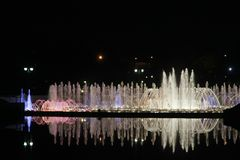 Night illumination at Tsaritsyno Park, Moscow. A fountain in Tsaritsyno park with night illumination royalty free stock photography