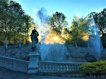 The Fountain of the Twelve Months in Turin & x27;s Valentino Park. Beauty, history, enchanting architecture and design, nature, light, shining place, peaceful royalty free stock images