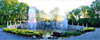 The Fountain of the Twelve Months in Turin's Valentino Park. Beauty, history, enchanting architecture and design, nature, light, shining place, peaceful royalty free stock images