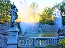 The Fountain of the Twelve Months in Turin `s Valentino Park. Beauty, history, enchanting architecture and design, nature, light, shining place, peaceful place stock photo