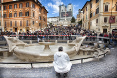Fountain of the Ugly Boat damaged by Dutch Feyenoord soccer Ultras. Rome, Italy. Stock Photo