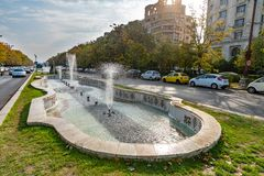 Fountain on Union Boulevard in Bucharest, Romania royalty free stock images
