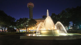 Fountain at Union station in Dallas at night Royalty Free Stock Photo