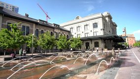 Fountain and Union Station. At Denver, Colorado, United States stock video footage