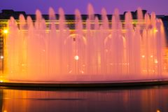 Fountain at Union Station. The fountain in frost of Union Station in Kansas City, Missouri spraying into the twilight sky Royalty Free Stock Images