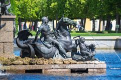 Fountain in the upper garden of Peterhof Royalty Free Stock Photos
