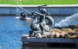 Fountain in the upper garden of Peterhof Royalty Free Stock Photo