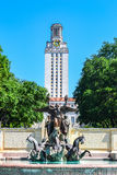 Fountain and UT Tower on University of Texas College Campus Royalty Free Stock Images