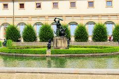 Fountain in Valdstain's garden. Valdstain's garden in capital city of Czech Republic Stock Photography
