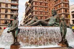 Fountain in Valencia Stock Image