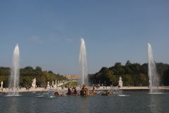 Fountain Versaille Paris, European architecture. Fountain in Versaille Paris, European architecture, castle on a sunny day, tourism in France, Europe Royalty Free Stock Photo