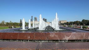 Fountain in the Victory Park on Poklonnaya Hill, Moscow, Russia. The memorial complex constructed in memory of those who died duri stock footage