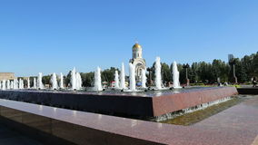 Fountain in the Victory Park on Poklonnaya Hill, Moscow, Russia. The memorial complex constructed in memory of those who died duri stock video
