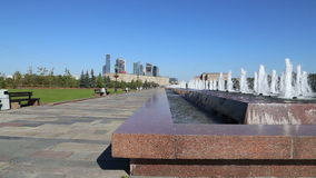 Fountain in the Victory Park on Poklonnaya Hill, Moscow, Russia. The memorial complex constructed in memory of those who died duri stock video footage