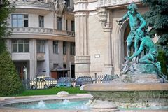 Fountain on the Vigadó tér street in Budapest, Hungary royalty free stock images