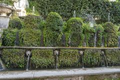 Fountain at Villa D `este in Tivoli on a Sunny summer day. The attraction of the city in Italy royalty free stock images