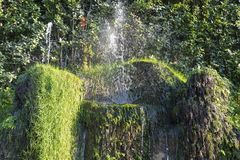 Fountain at Villa D `este in Tivoli on a Sunny summer day. The attraction of the city in Italy royalty free stock image