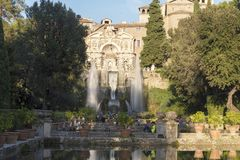 Fountain at Villa D `este in Tivoli on a Sunny summer day. The attraction of the city in Italy royalty free stock photo